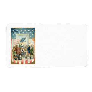 US Flag Congress First 4th of July Label