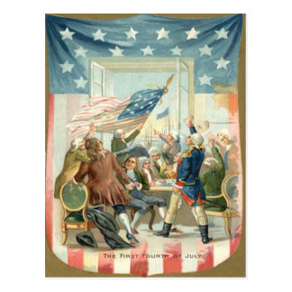 US Flag Congress First 4th of July Postcard