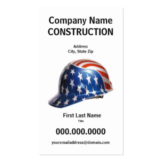 US Flag Construction Hard Hat Card Double-Sided Standard Business Cards (Pack Of 100)