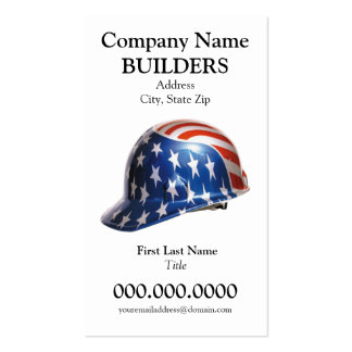 US Flag Construction Hard Hat Card Goudy Type Face Business Card