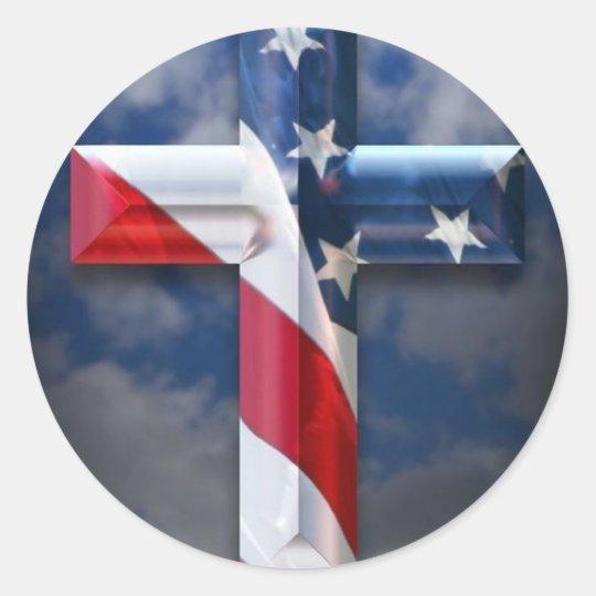 US flag cross Classic Round Sticker