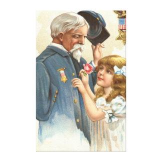 US Flag Disabled Veteran Rose Girl Canvas Print