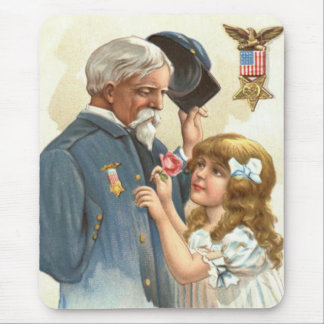 US Flag Disabled Veteran Rose Girl Mouse Pad
