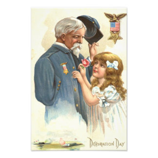 US Flag Disabled Veteran Rose Girl Photo Print