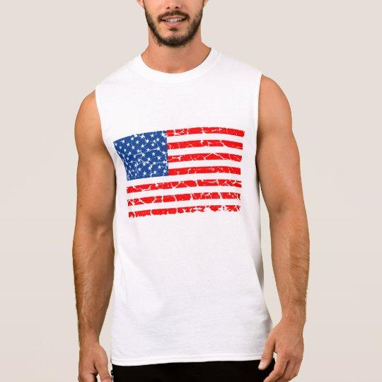 US Flag, Distressed Sleeveless Shirt