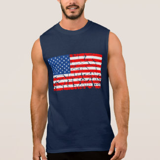 US Flag, Distressed Sleeveless T-shirts