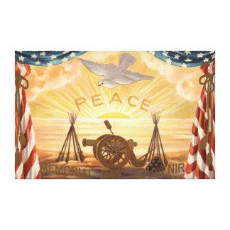 US Flag Dove Sun Peace Cannon Rifle Sunrise Canvas Print