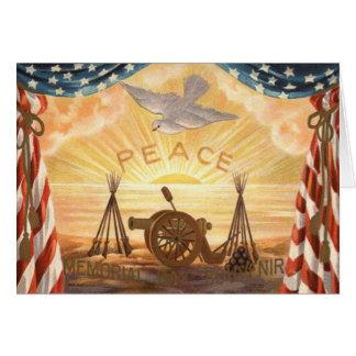 US Flag Dove Sun Peace Cannon Rifle Sunrise Card