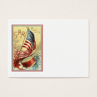 US Flag Drum Forget Me Nots Flowers Business Card