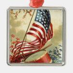 US Flag Drum Forget Me Nots Flowers Metal Ornament
