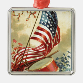 US Flag Drum Forget Me Nots Flowers Metal Ornament