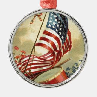 US Flag Drum Forget Me Nots Flowers Christmas Ornament