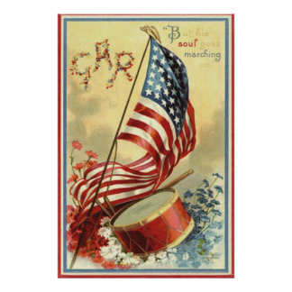 US Flag Drum Forget Me Nots Flowers Poster