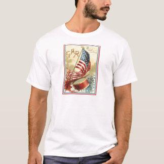 US Flag Drum Forget Me Nots Flowers T-Shirt