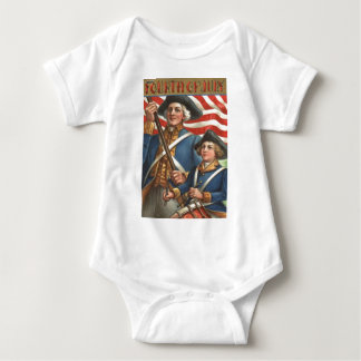 US Flag Drummer Boy Soldier Fireworks Baby Bodysuit