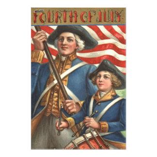 US Flag Drummer Boy Soldier Fireworks Photo Print