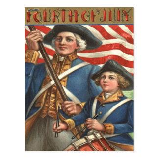 US Flag Drummer Boy Soldier Fireworks Postcard