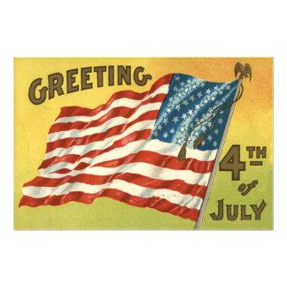 US Flag Eagle 4th of July Greeting Photo Print
