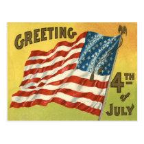 US Flag Eagle 4th of July Greeting Postcard