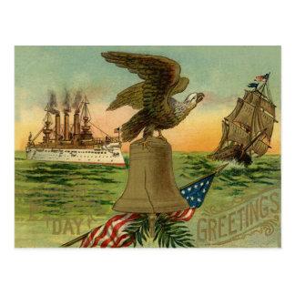 US Flag Eagle Bell Ship Ocean Postcard