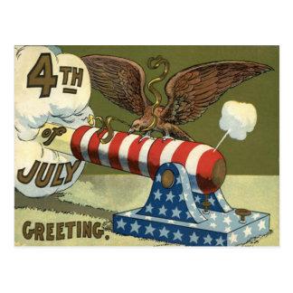 US Flag Eagle Cannon Explosion Postcard