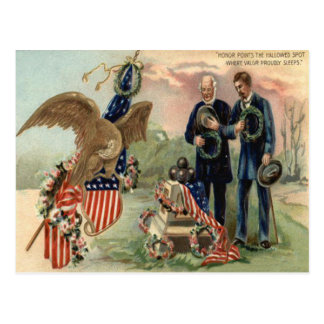 US Flag Eagle Cannon Monument Wreath Postcard