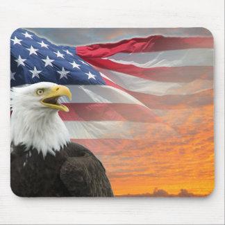 US Flag Eagle Fiery Sunrise Mousepad