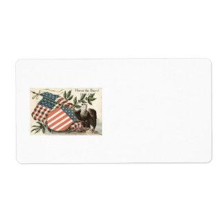 US Flag Eagle Shield Memorial Day Label