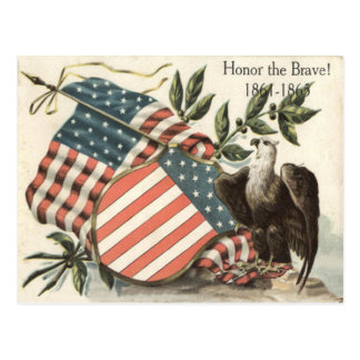 US Flag Eagle Shield Memorial Day Postcard
