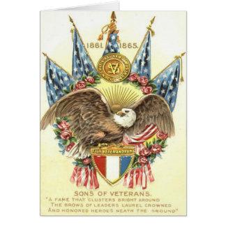 US Flag Eagle Shield Rose Memorial Day Card