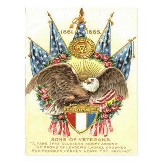 US Flag Eagle Shield Rose Memorial Day Postcard