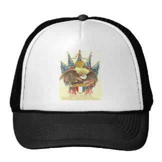 US Flag Eagle Shield Rose Memorial Day Trucker Hat