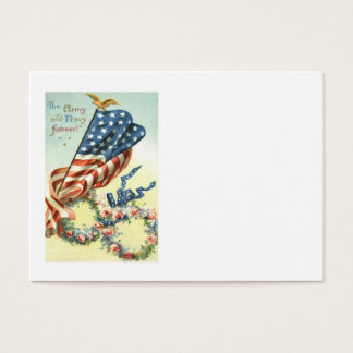 US Flag Eagle Wreath Flower Memorial Day Business Card