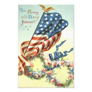 US Flag Eagle Wreath Flower Memorial Day Photo Print