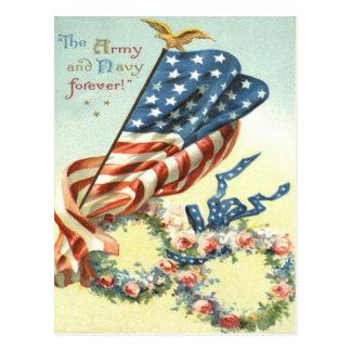 US Flag Eagle Wreath Flower Memorial Day Postcard