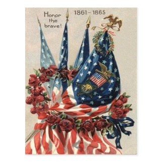 US Flag Eagle Wreath Rose Memorial Day Postcard
