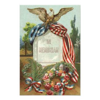 US Flag Eagle Wreath Tombstone Gravestone Rose Photo Print