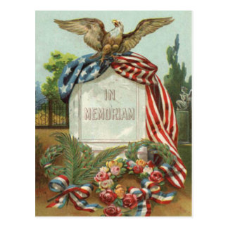 US Flag Eagle Wreath Tombstone Gravestone Rose Postcard