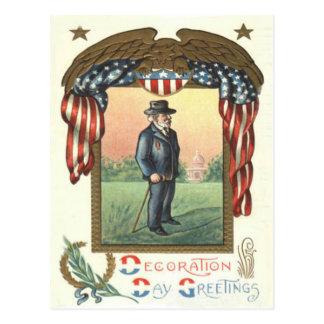 US Flag Eagle Wreath Union Soldier Postcard