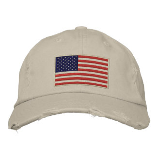 US Flag Embroidered Distressed Hat