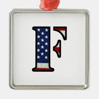 "US Flag ""F"" Metal Ornament"