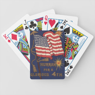 US Flag Fireworks Explosion 4th of July Bicycle Playing Cards