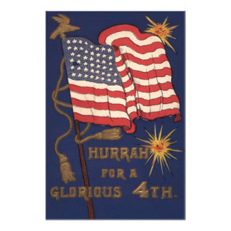 US Flag Fireworks Explosion 4th of July Photo Print