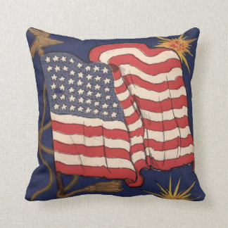US Flag Fireworks Explosion 4th of July Pillows