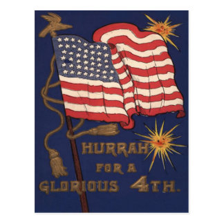 US Flag Fireworks Explosion 4th of July Postcard