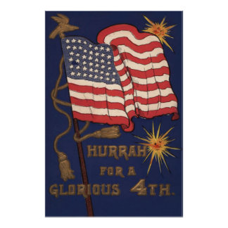 US Flag Fireworks Explosion 4th of July Poster