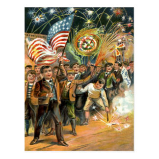 US Flag Fireworks Firecracker Parade Postcard