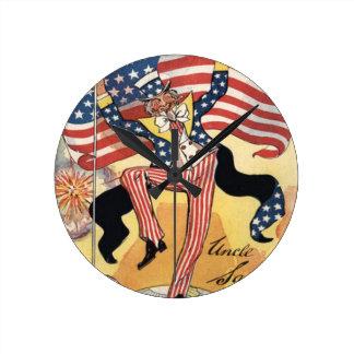 US Flag Fireworks Firecracker Uncle Sam Round Clock
