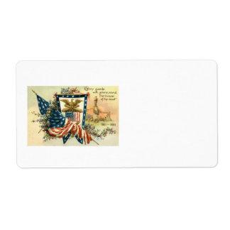 US Flag Flower Civil War Eagle Memorial Day Label