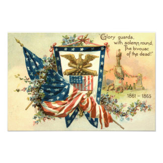 US Flag Flower Civil War Eagle Memorial Day Photo Print